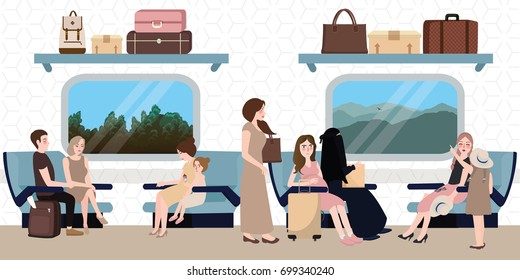 inside train business class situation people sitting travel for long distance with luggage and window  tourism bag above