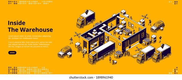 Inside warehouse banner. Logistic infrastructure for storage, distribution and delivery cargo from factory. Vector landing page with isometric storehouse interior, trucks, drones and working people