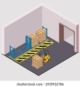 inside warehouse logistic  background isometric objects car human forklift boxes and carboards vector eps