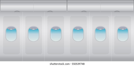 Inside Windows of the white airplane Vector illustration