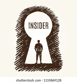 Insider business concept sketch. A man stands in the keyhole and looks inside. Vector hand drawn illustration.