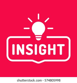 Insight. Badge with bulb icon. Flat vector illustration on red background.