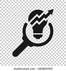 Insight icon in transparent style. Bulb vector illustration on isolated background. Idea business concept.