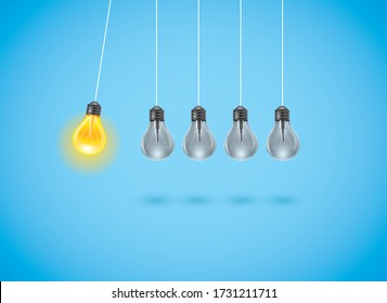 Insight idea with yellow light bulb. Symbol of creativity, visions, ideas, inspiration and motivation. Eps10 illustration