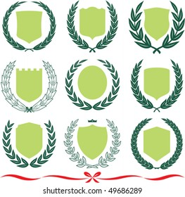Insignia designs set 9 shields, laurel wreaths and ribbons. Vector illustrations isolated on white background