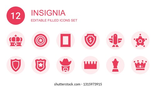 insignia icon set. Collection of 12 filled insignia icons included Crown, Shield, National geographic, Eagle, Police badge, Sheriff, Queen