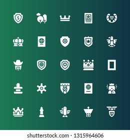 insignia icon set. Collection of 25 filled insignia icons included Lazio, Caduceus, Eagle, King, Crown, Queen, Passport, Badge, Sheriff, Force, National geographic, Shield, Police badge