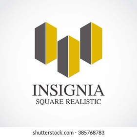 Insignia square of realistic building abstract vector and logo design or template real estate business icon of company identity symbol concept