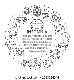 Insomnia circle template in line art stule. Mental disorders of Insomnia round banner. Mental health series - insomnia lineart composition. Vector illustration