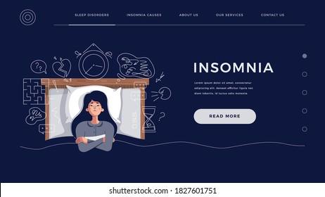 Concepto de insomnio para página principal, plantilla de sitio web. La mujer joven sufre de trastornos del sueño por problemas mentales, ideas. Niña pensando en la fecha límite, eventos alterados, ilustración vectorial de caricatura plana