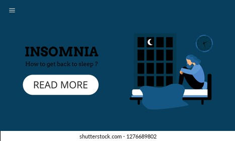Insomnia. How to get back to sleep? Landing page template. Modern flat concept with sad unhappy young woman sitting on a bed. Night. Flat vector illustration.