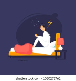 Insomnia, a man is sitting on the bed. Flat design vector illustration.