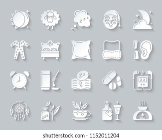 Insomnia paper cut icons set. 3D sign kit of sleep. Dream pictogram collection includes somnolent syrup, aromatic candle, aroma lamp. Simple insomnia vector carved icon shape. Material design symbol