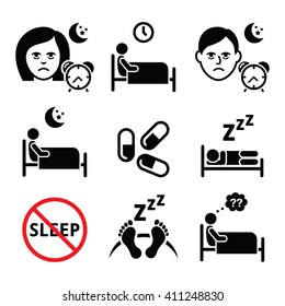 Insomnia, people having trouble with sleeping icons set