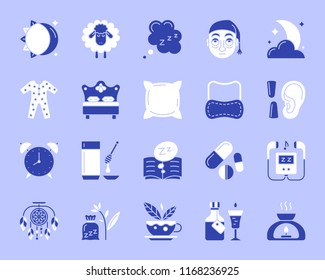Insomnia silhouette icons set. Isolated on white web sign kit of sleep awake. Sleepless pictogram bed rest, bedtime pillow, sleeping mask. Simple insomnia contour symbol. Vector Icon shape for stamp