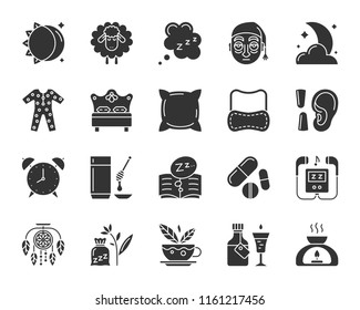 Insomnia silhouette icons set. Sign kit of sleep. Dream pictogram collection includes sleeping mask, earplugs, alarm clock. Simple insomnia black symbol isolated on white. Vector Icon shape for stamp