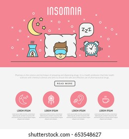 Insomnia and sleep concept. Man in sleeping mask lying on comfortable pillow near clock and aroma lamp. Around moon and bubble with Zzz sign. Thin line vector illustration.