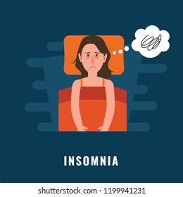 Insomnia. Sleeping disorder illustration
