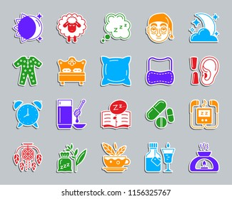 Insomnia sticker icons set. Web sign kit of sleep. Dream pictogram collection includes mp3 player, dream catcher, herbal tea. Simple insomnia vector icon shape for badge, pin, patch and embroidery