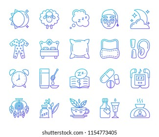 Insomnia thin line icons set. Outline vector sign kit of sleep. Dream linear icon collection includes sun moon, sleepy sheep, cloud zzz. Modern color gradient simple insomnia symbol isolated on white