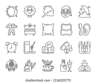 Insomnia thin line icons set. Outline sign of sleep. Dream linear icon collection includes tired man, exhausted face, night pajamas. Simple insomnia black symbol isolated on white vector Illustration