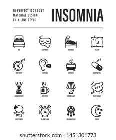 Insomnia thin line icons set. Alarm clock, sleeping mask, comfortable pillow, dreamcatcher, earplug, aroma diffuser, pills, sromatherapy, sheep jumping, tired man in bed. Vector illustration.
