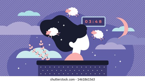 Insomnia vector illustration. Flat tiny sleep time problems persons concept. Abstract sleeplessness disorder visualization. Psychological stress caused low energy, irritability, and a depressed mood.