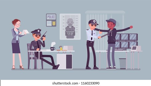 Inspection process. Suspect, guilty of a crime or offence person in the office of a local police force under careful examination of policeman. Public, private city safety concept. Vector illustration