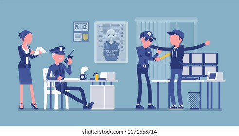 Inspection process. Suspect, guilty of crime or offence person in office of a police force under examination of policeman. Public, private city safety concept. Vector illustration, faceless characters