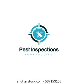 Inspections Pest Vector illustration shape house and leaves for property logo.