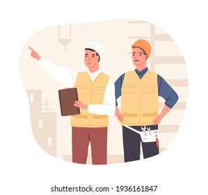 Inspector and foreman in hardhats at construction site. Supervisor or manager controlling building process. Colored flat vector illustration of workers in hard hats isolated on white background