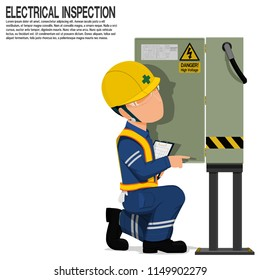 An inspector is inspecting the electrical cabinet on transparent background