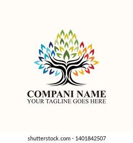 inspirasi desain logo akar pohon abstrak bersemangat