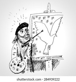 Inspiration. The artist draws a pigeon. Picture on an easel. Vector cartoon