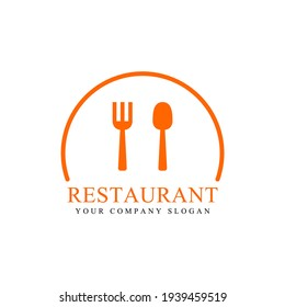 Inspiration for a classic restaurant logo concept with utensils, flat design style. Food logo template. Suitable for restaurant, shop, and company logos.