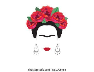 inspiration Frida Kahlo, Mexican woman, vector isolated