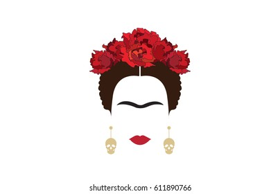 inspiration Frida, portrait of modern Mexican woman with skull earrings, vector illustration isolated with background transparent. Dia de los muertos concept