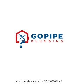 Inspiration logo for plumbing service and repair with plumbing keys commonly used.