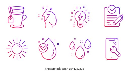 Inspiration, Rfp and Sun line icons set. Water drop, Rainy weather and Tea signs. Brainstorming, Smartphone repair symbols. Creativity, Request for proposal. Gradient inspiration icon. Vector