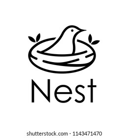 Inspiration sign / logo of birds that are in the quiet and peaceful nest in the form of line art.