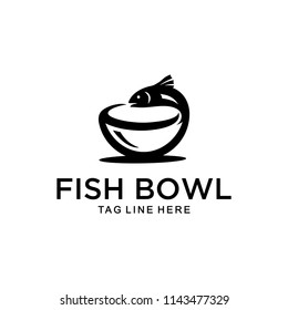 Inspiration sign / logo of a fish that is on top of a bowl that is in unique shape.