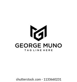 Inspiration sign / logo GM in the form of geometric and minimalist