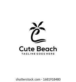 Inspiration sign / logo Initial C in a shape like a coconut tree logo design.