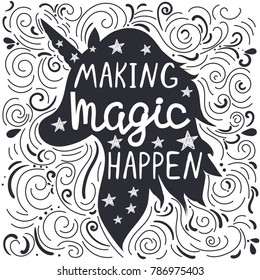 """Inspirational abstract poster with unicorn head silhouette and text """"making magic happen"""""""