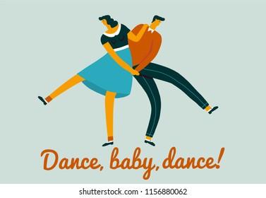 Inspirational card with men and women dancers dancing a sock hop dance retro 50 s illustration.