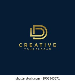 Inspirational letter d monogram logo design with modern concept gold colour Premium Vector. part 9