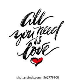 Inspirational lettering All You Need Is Love with halftone effect. Element for graphic design. Isolated on white background.