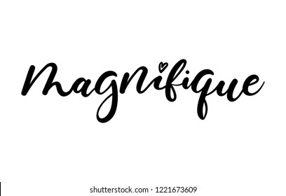 "Inspirational lettering quote in french means in English ""magnificent"": ""magnifique"". Motivational poster design."