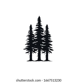 Inspirational logo: three elegant pine trees. This logo is suitable for business, outdoor companies etc.