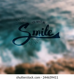 Inspirational message - You Make Me Smile - in flowing script over an abstract blurred green background in square format suitable for a card, vector illustration